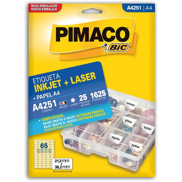 Etiqueta Inkjet+Laser A4 25 Fls A4251 Pimaco