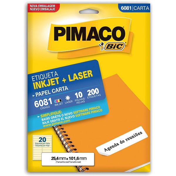 Etiqueta Inkjet+Laser Carta 10 Fls 6081 Pimaco