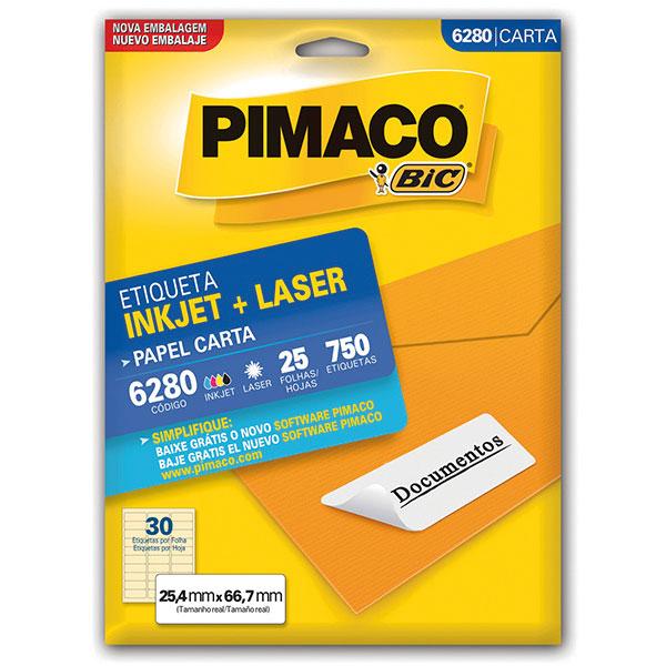 Etiqueta Inkjet+Laser Carta 25 Fls 6280 Pimaco